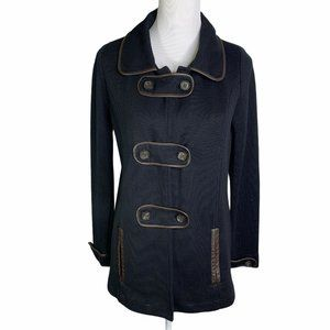 525 America Leather Trim Side Pockets Knit Coat